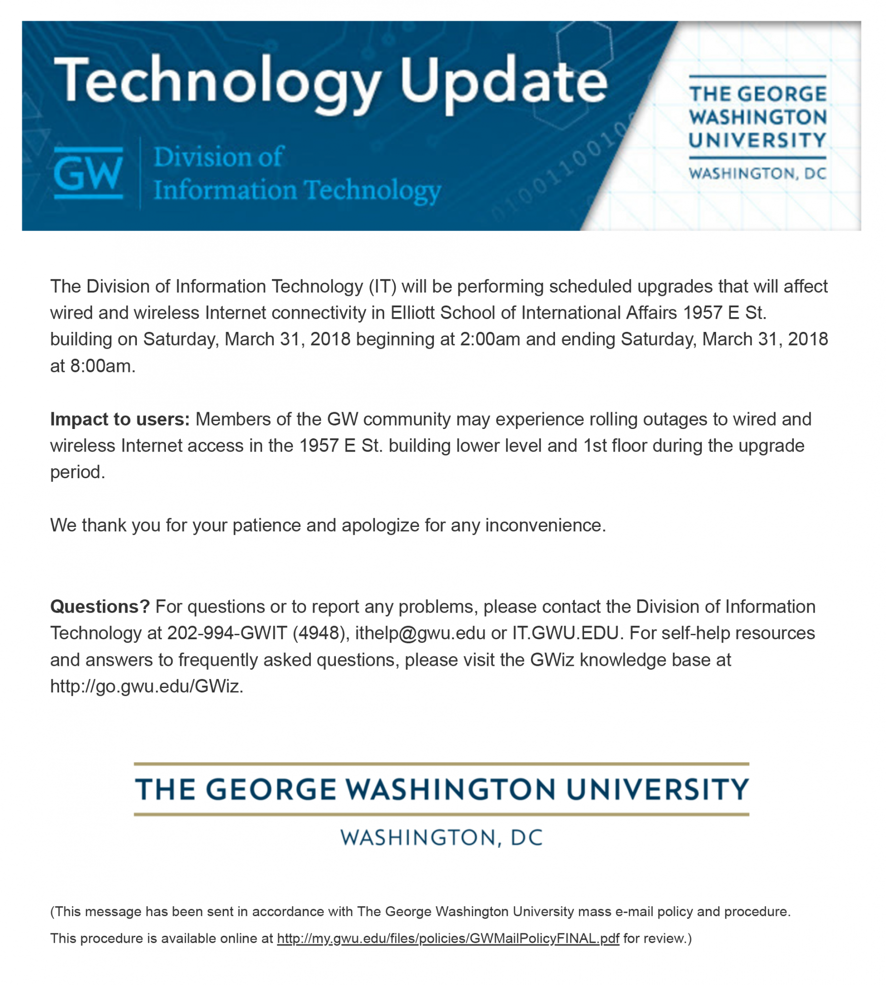 Division of IT Verified E-mail - March 2018 | GW Information