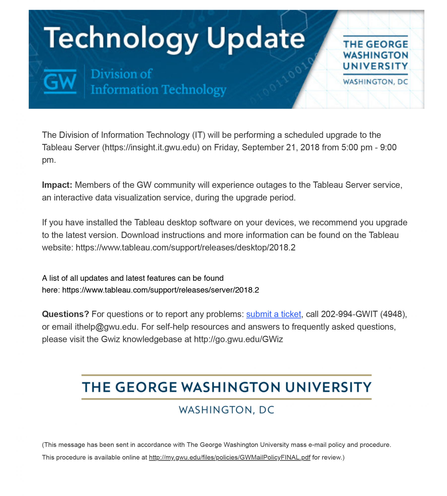 Division of IT Verified E-mail - September 2018 | GW Information Technology  | The George Washington University