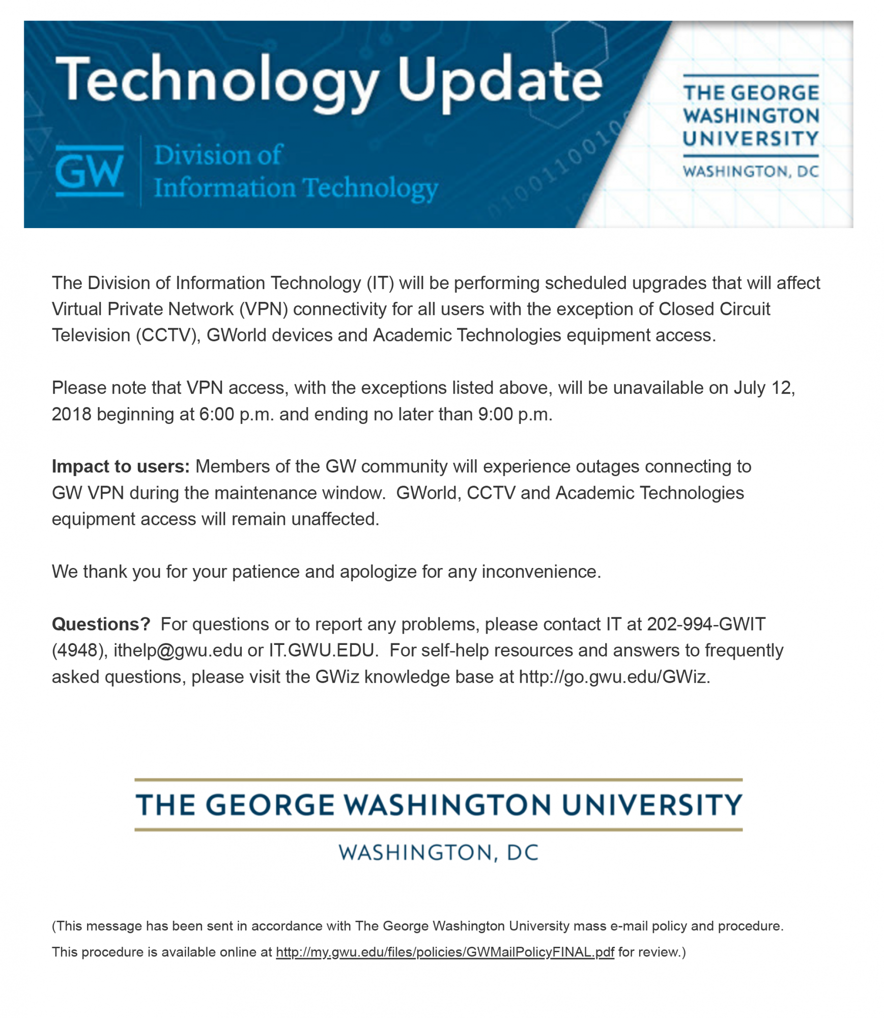 Division of IT Verified E-mail - July 2018 | GW Information
